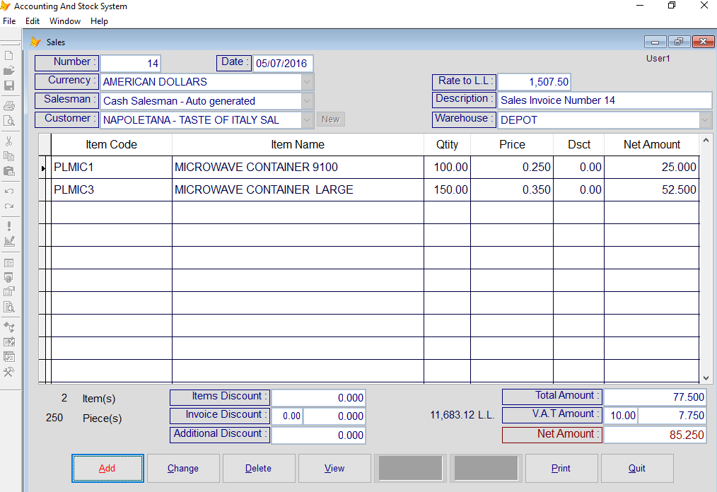 Sales Invoice form